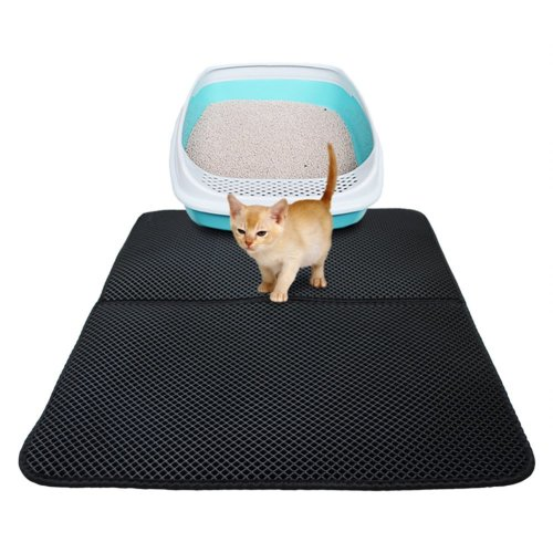 Dracarys Waterproof Cat Litter Mat - 27.6 x 21.7 inches Double-Layer Honeycomb Cat Litter Trapping Mat, Cat Feeding Mat - Floor Protection and...