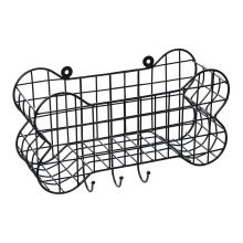 House of Paws Bone Shaped Wall Storage Basket & Dog Lead Hooks - Small
