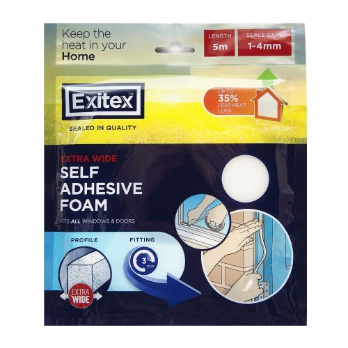 Exitex Foam Draft Seal Extra Wide (1mm-4mm) 5m - White