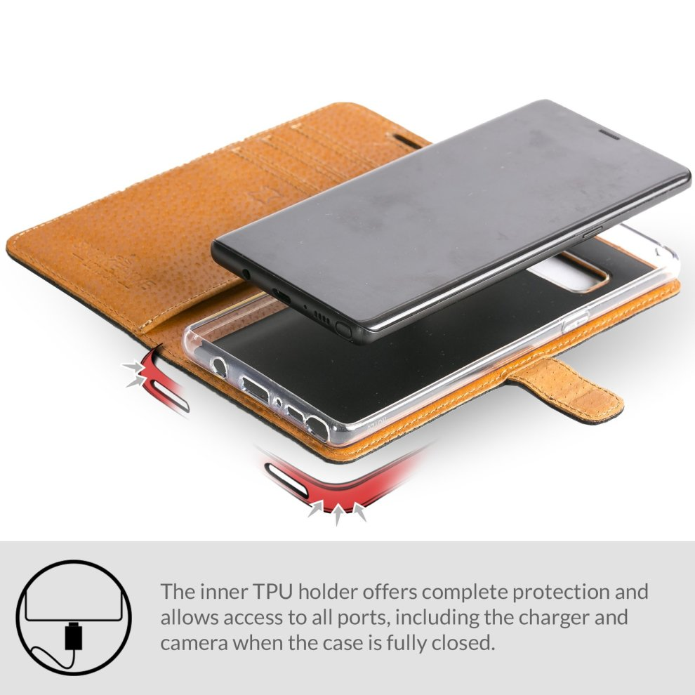 new style 33128 571f5 Snakehive Samsung Galaxy Note 8 Case, Luxury Genuine Leather Wallet with  Viewing Stand and Card Slots, Flip Cover Gift Boxed and Handmade in  Europe...