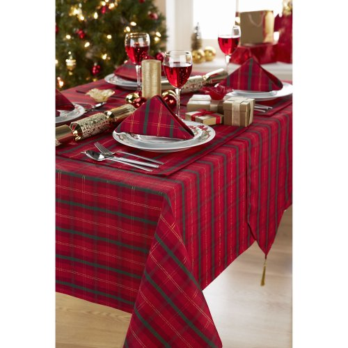 Tartan Red/Gold ChristmasTablecloth Ideal For 4-6 Place Settings (52x70in-132x178cm Approx)