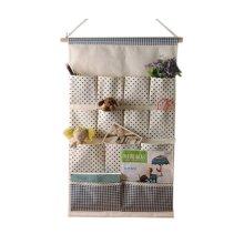 13-Pockets Zakka Wall Door Hanging Storage Bag Case Magazine Organizer, D