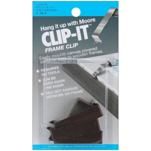 "Clip-It Frame Clips 4/Pkg-Fits 1.5"" & 1.75"" Stretcher Bars"