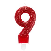 Glitter Birthday Candle Number 9 Red 7.6cm -