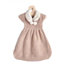 Toilet Double Ball Skirt Towel Hanging Strong Water Absorption Towel, Khaki