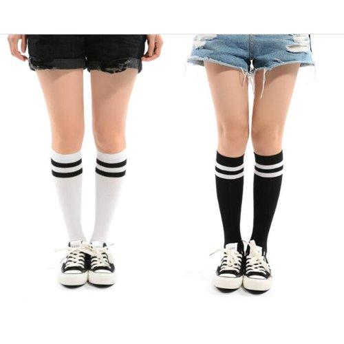 Girls Knee High Socks with Stripe 2 Pairs - White and Black