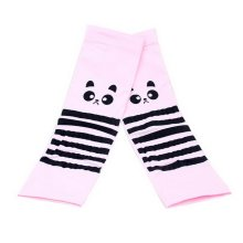 Girls Summer Outdoor Ride Sunscreen Cuff Protection Gloves Pink Big Eyes Raccoon