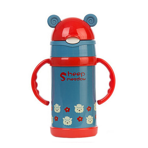 Cute Stainless Steel Water Bpttle Drink Bottle With Straw, Blue