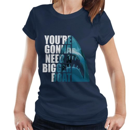 (Large) Jaws Half Head Text Women's T-Shirt
