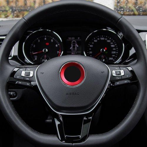 TOPDECO Aluminium Trim Car Steering Wheel Logo Sticker(Red)