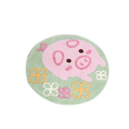 Bedroom Carpet Kitchen Bathroom Non-slip Carpet Circularity Pink Pig Mat