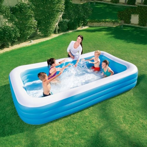 Deluxe Inflatable Blue Rectangular Family Outdoor Garden Swimming Paddling Pool