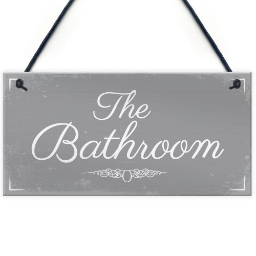 RED OCEAN 'THE BATHROOM' Shabby Chic Hanging Door Sign Plaque Sign for Toilet or Bathroom The Loo Home Decor