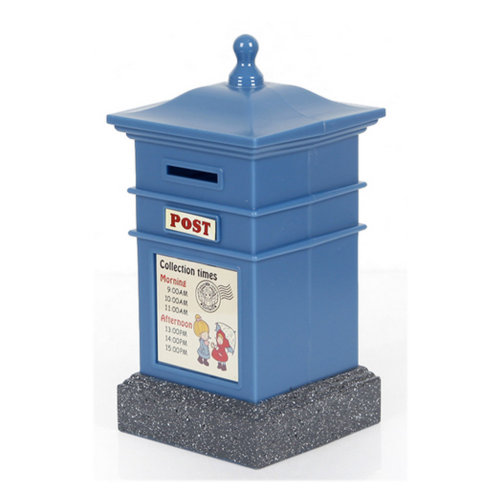 Creative Mailbox Cute Piggy Bank For Saving Money Coin Bank Square Blue