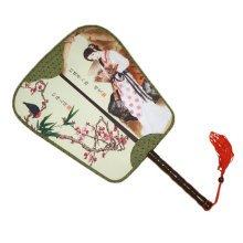 Elegant Silk Fabric Hand Fan Chinese Fan Print Decor Wood Handle, No.8