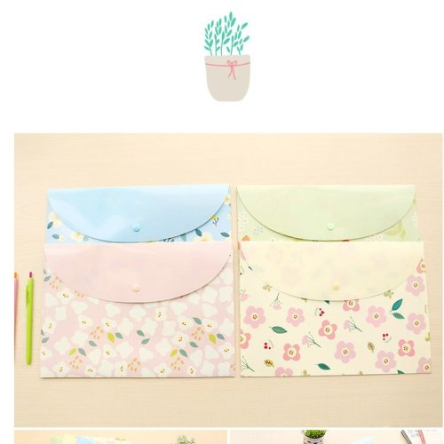 Cute Flowers Floral A4 Document Wallets (A Set of 4)
