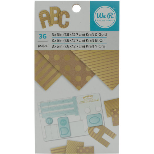 "We R Memory Keepers Paper Pad 3""X5""-Kraft W/Gold Foil, 36/Pkg"