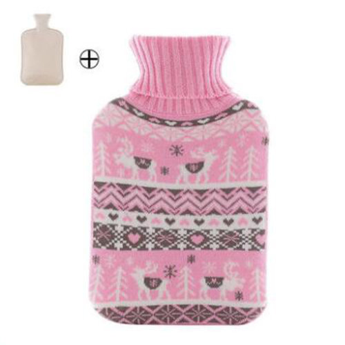 Hot Water Bottle with Pink Knit Cover - 2 Liter