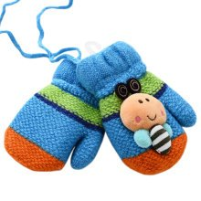 1 Pair Kids' Winter Glove Knitted Mittens With Sling(0-3 Years) Bee Blue