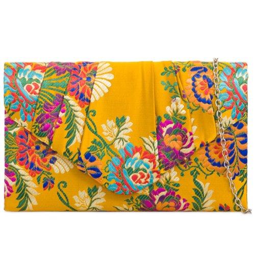 Clutch Bag Satin Yellow Floral Evening Shoulder Bag Ladies Handbag