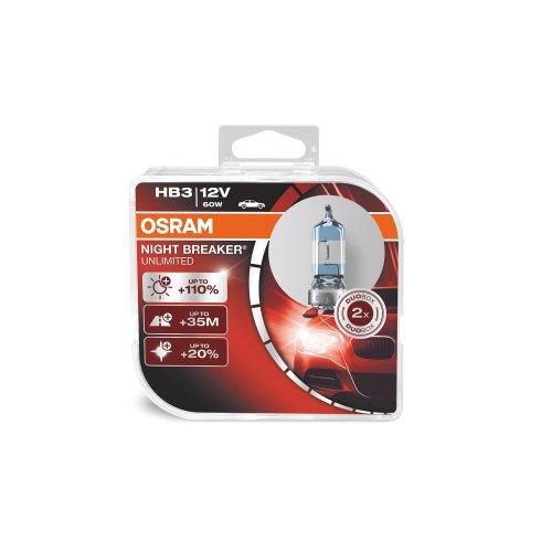 OSRAM NIGHT BREAKER UNLIMITED HB3  halogen headlamp bulb 9005NBU-HCB +110% more light and +20% whiter light in double box