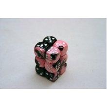 Chessex Gemini 16mm D6 x 12 - Black-Pink/white