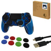 ZedLabz protect & play kit for PS4 inc silicone cover, thumb grips & 3m charging cable - camo blue