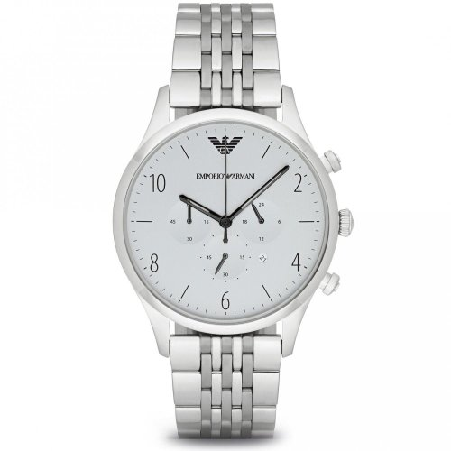 Emporio Armani Mens Gents Watch Silver Stainless Steel Strap White Dial AR1879