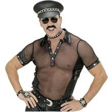 "Mens Blk Net & Leatherlook T - Shirts Man Size Costume Large Uk 42/44"" For 80s -  net biker fancy dress top leather look village people plus size"