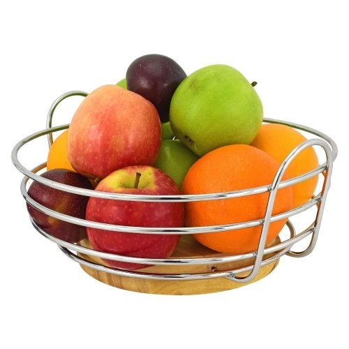 Top Home Solutions Round Chrome Wire Fruit Bowl with Rubber Wood Base
