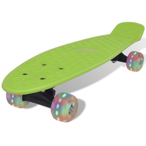 Green Retro Skateboard with LED Wheels