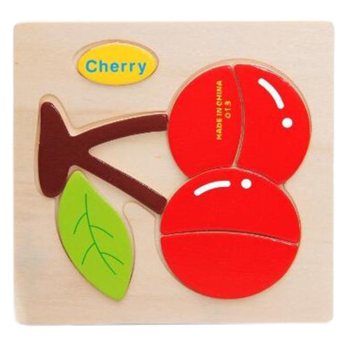 Children's Educational Toys World Wooden 3D Three-dimensional Jigsaw Baby Puzzle Toys, Cherry