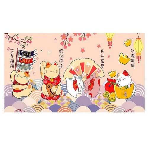 Home Creative 50-Inch TV Cloth Decorative Dustproof Cover, Lucky Cats