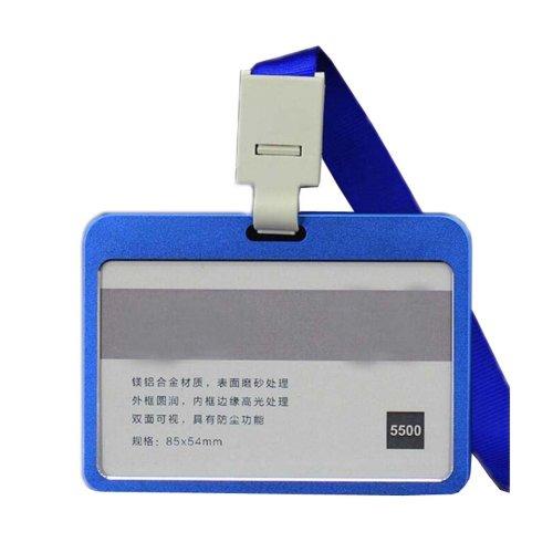 Aluminum Alloy Horizontal ID Card Badge Holder with Neck Lanyard Strap 3PCS, 42