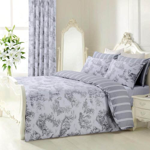 Velosso Vintage Shabby Chic Toille Grey/Silver Reversible Bedding Set Duvet Cover Set Toile De Jouy (King Size)