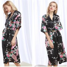 Women Silk Satin Floral Peacock Bathrobe