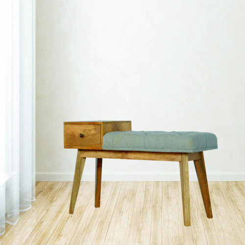Telephone Bench With Drawer and Multi Tweed Seat