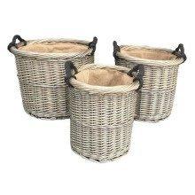 Set of 3 Antique Wash Round Rope Handled Log Basket