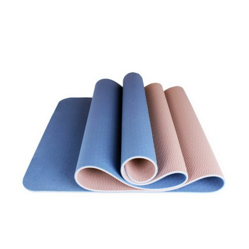 TPE Yoga Mat Eco Yoga Exercise Mat 6mm Thick (Blue)+ Canvas Bag