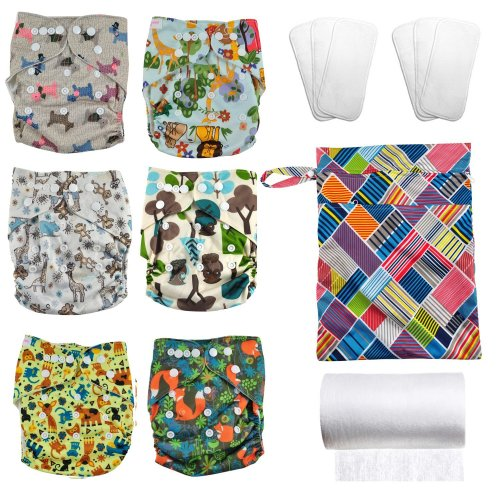 Juicy Bumbles: Set of 6 Reusable Nappies - Washable Cloth Nappies + 6 Washable Bamboo Nappy Inserts + 1 Roll of 100 Bamboo Flushable Nappy Liners +...