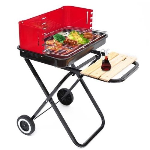 Outsunny Trolley Charcoal BBQ | Black & Red Foldable Outdoor Grill