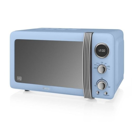 Swan Retro Digital Microwave 20 Litre 800 Watt - Blue (Model No.SM22030BLN)