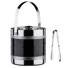 Ice Bucket and Tongs with Hammered Black Band, Stainless Steel