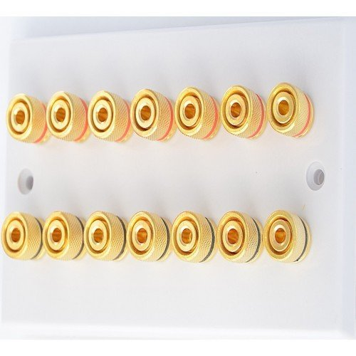 White 14 Binding Post Speaker Wall Plate - 14 Terminals - Rear Solder Tab Connections
