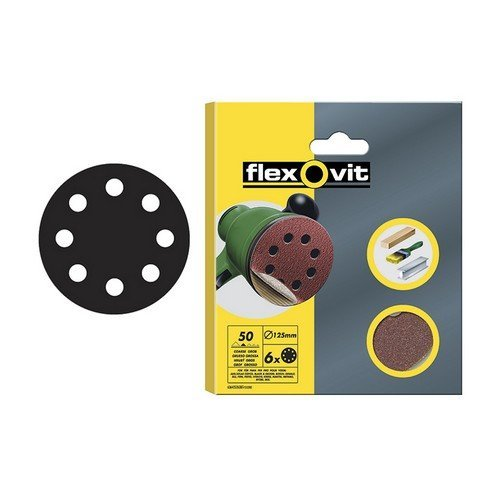 Flexovit 63642526707 Hook & Loop Sanding Discs 125mm Coarse 50g Pack of 15