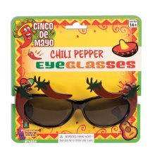 Chilli Pepper Novelty Sunglasses - Mexican Fancy Dress Eyeglasses Accessory -  pepper chilli mexican fancy dress eyeglasses sunglasses accessory