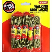 5 X Pairs Pack Strong Durable Yellow And Brown Walking Boot Laces - Long Hiking -  boot long strong hiking walking laces 5 pairs round bootlaces work