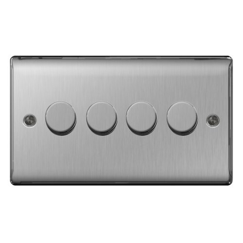 Masterplug NBS84P 400 W 4-Gang 2-Way Metal Brushed Steel Push On/ Off Dimmer Switch