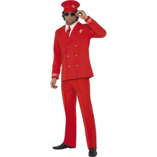 Large Red Men's High Flyer Pilot Costume - Fancy Dress Mens Airline Uniform -  costume fancy dress pilot high flyer mens airline red uniform outfit