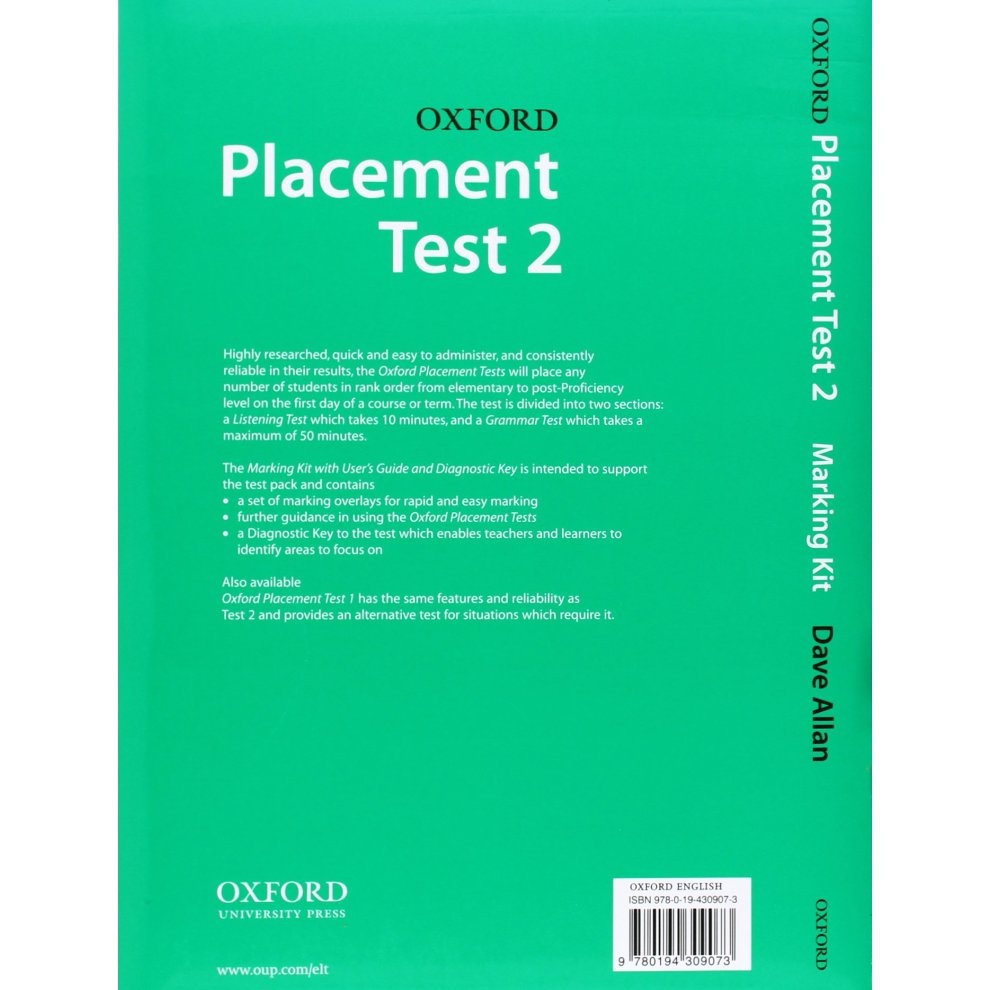 Oxford Placement Tests 2: Marking Kit: Marking Kit Test pack 2